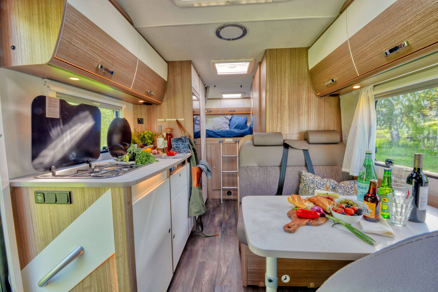 SkandiTrip family luxury motorhome entrance, living room and alcove
