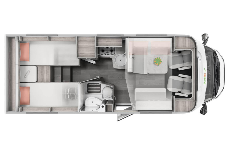 SkandiTrip small motorhome comfortable living room section