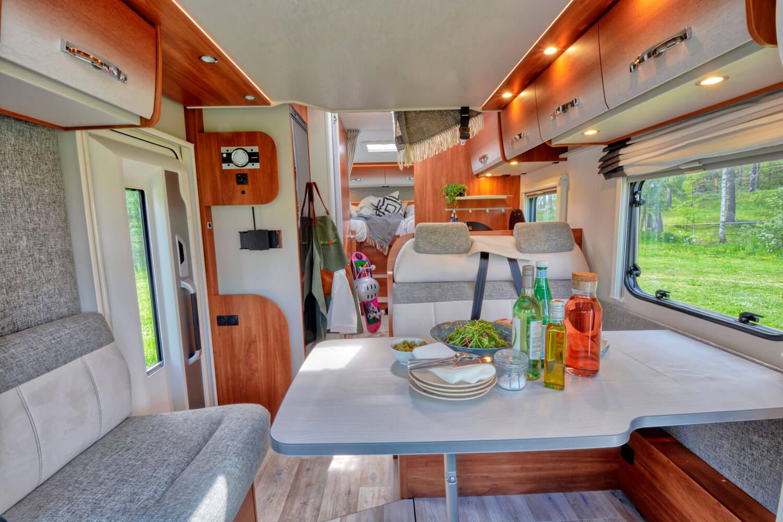 SkandiTrip small motorhome entrance and living room seats